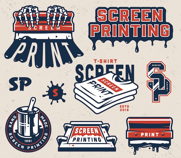 Vintage screen printing elements collection