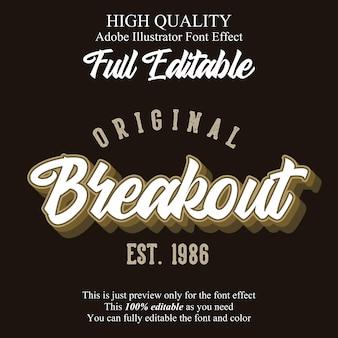 Vintage script editable typography font effect