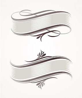 Vintage scroll banners with calligraphic elements
