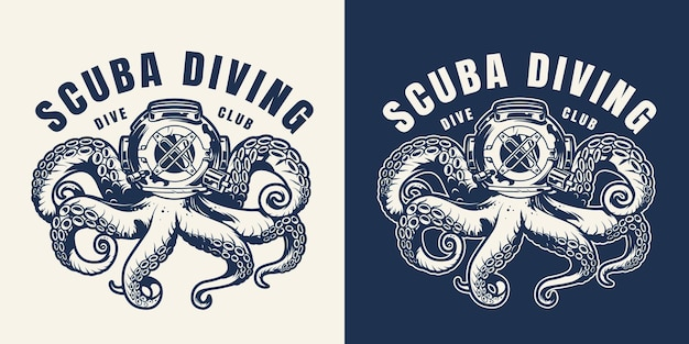 Vintage scuba diving monochrome emblem with octopus in diver helmet isolated