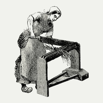 Vintage scutcher machine illustration