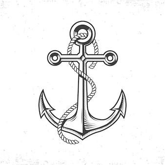 Винтажный морской якорь с веревкой. нарисованный от руки.