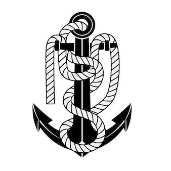 分離されたロープとヴィンテージの海のアンカー