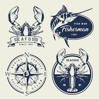 Vintage sea emblems collection