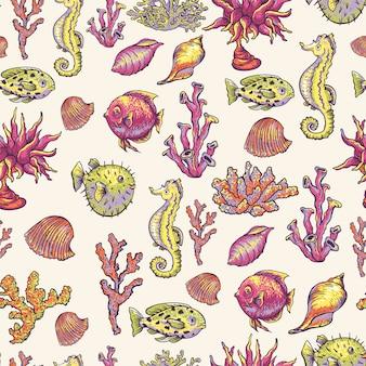 ビンテージの海の生活自然なシームレスパターン、水中のテクスチャ