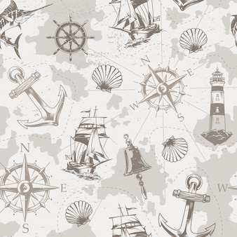 Vintage sea and marine seamless pattern