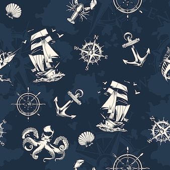 Vintage sea and nautical seamless pattern