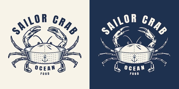 Vintage seafood monochrome emblem of sailor hat with crab limbs isolated
