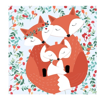 Vintage seamless adorable cute fox family in pretty cherry forest