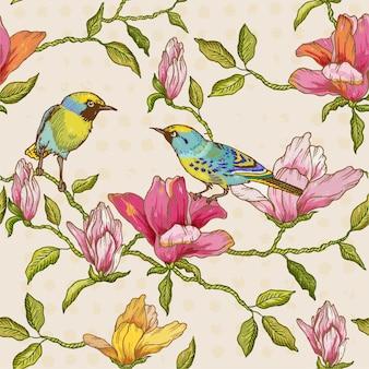 ヴィンテージのシームレスな背景の花と鳥