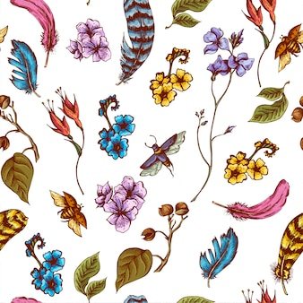 Vintage seamless background with flowers, beetles and feathers