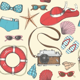 Vintage seamless background with hand drawn summer objects