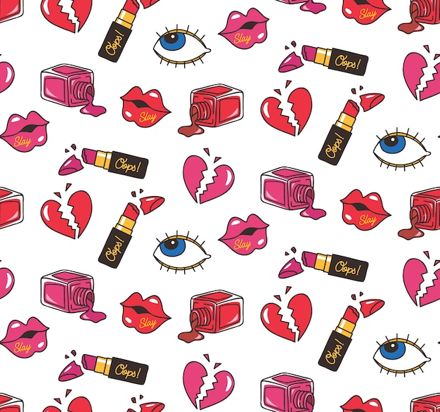 Vintage seamless background with lipstick, heart, eyes, and other object