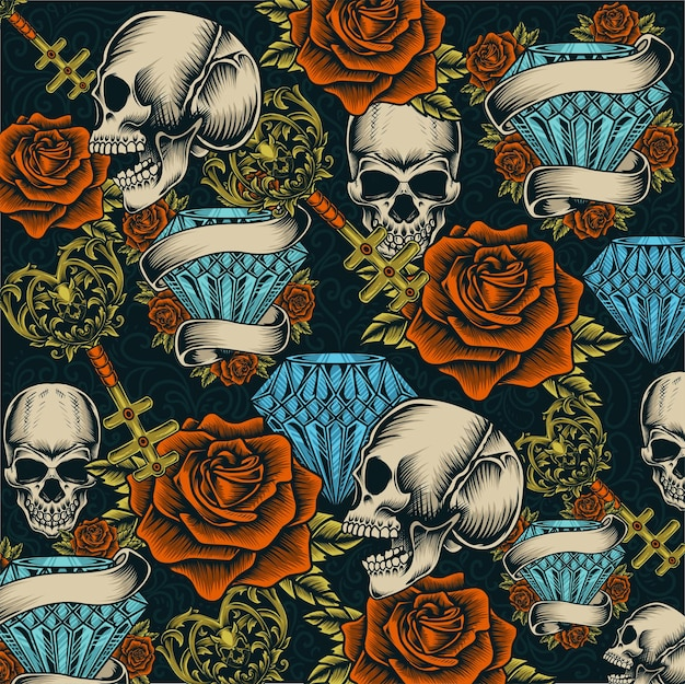 Vintage seamless background with skull diamond rose pattern