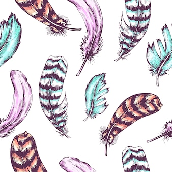Vintage seamless background with vintage feather