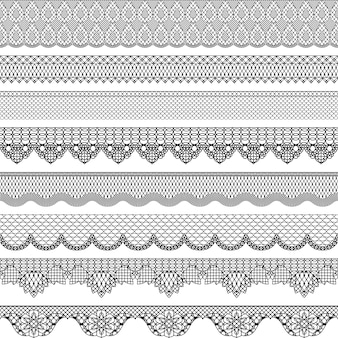 Vintage seamless border with lace texture.