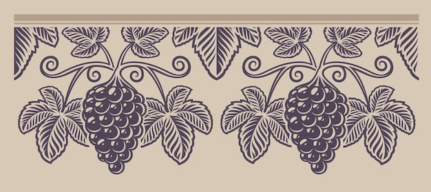 Vintage seamless branch grape pattern, a decoration for wine theme on the light  background