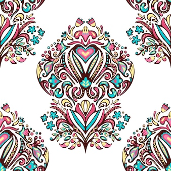 ヴィンテージのシームレスなダマスクパターン。カラフルな落書き手描き花柄壁紙