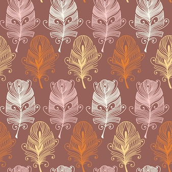 Vintage seamless feathers pattern