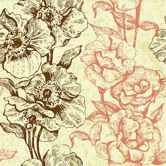 빈티지 완벽 한 꽃 패턴입니다. 손으로 그린 그림