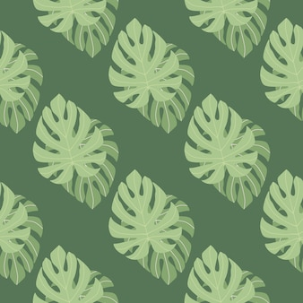 Vintage seamless floral pattern with green monstera leaves ornament. foliage tropical
