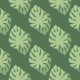 녹색 monstera 빈티지 원활한 꽃 패턴 장식 나뭇잎. 열대 단풍