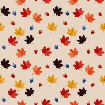 Vintage seamless maple leaves pattern