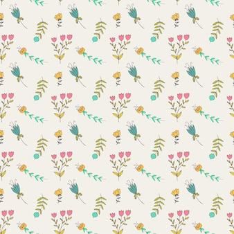 Vintage seamless pastel vectorn floral pattern.