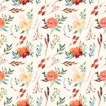 Vintage seamless pattern classic floral vintage with watercolor