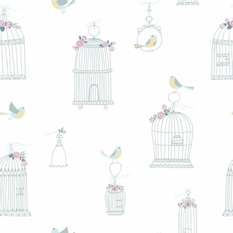 Vintage seamless pattern for decorative bird cages. decorated with flowers. sitting and flying birds.   illustration in free hand drawn style in pastel colors