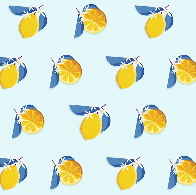 Vintage seamless pattern design with lemon slice