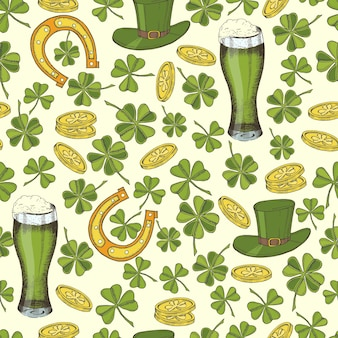 St patrick의 날 빈티지 완벽 한 패턴입니다. 성 패트릭 모자, 말굽, 네잎 클로버, 청 맥주, 금화.