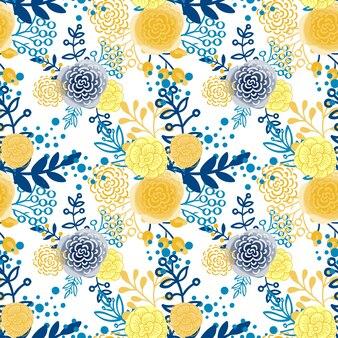ビンテージシームレスパターン手描きの花