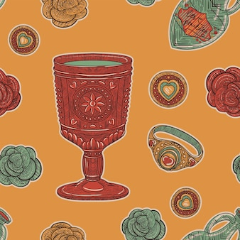 빈티지 완벽 한 패턴입니다. 복고풍 스케치 스타일의 사랑 컵과 장미와 반지