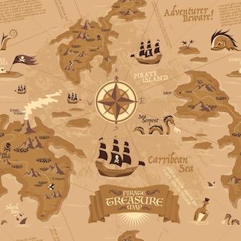 Старинный бесшовный образец, показывающий карту для поиска сокровищ с пиратскими парусниками и островами