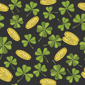 Vintage seamless pattern for st patrick's day. st. patrick's  four-leaf clover and gold coins on black