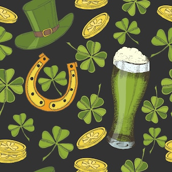 Vintage seamless pattern for st patrick's day. st. patrick's hat, horseshoe, four-leaf clover, green beer and gold coins.
