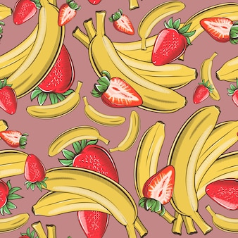 Vintage seamless pattern with bananas and strawberries.