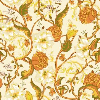 咲くモクレン、バラと小枝のヴィンテージのシームレスパターン