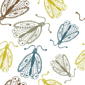 낙서 스타일 장식 손으로 그린 나비에 나비와 함께 빈티지 완벽 한 패턴