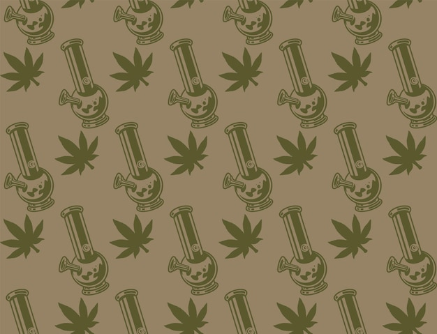 Vintage seamless pattern with a cannabis leaf, bong.