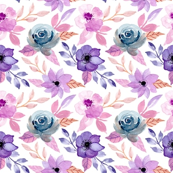 Vintage seamless pattern with floral watercolor