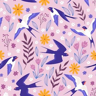 飛んでいるツバメ、花や植物とヴィンテージのシームレスなパターン。田舎の牧草地には鳥や葉がプリントされています。ベクトルコテージコア壁紙