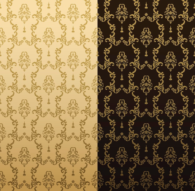 金の装飾が施されたヴィンテージのシームレスなパターン