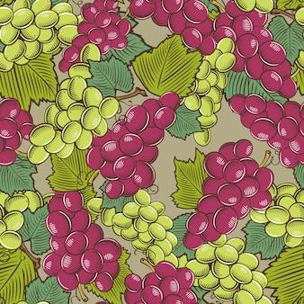 緑と赤ぶどうとヴィンテージのシームレスなパターン。