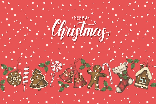 Vintage seamless pattern with hand drawn christmas objects and hand made lettering