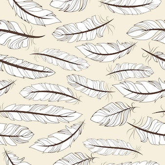 Vintage seamless pattern with hand-drawn feathers vector illustration