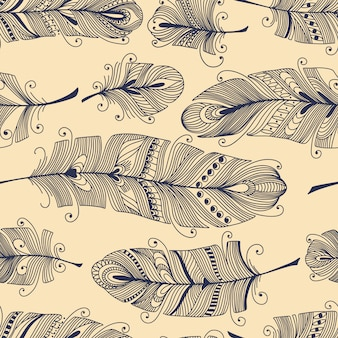 Vintage seamless pattern with hand-drawn feathers
