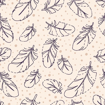 Vintage seamless pattern with hand drawn feathers