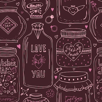 Vintage seamless pattern with jars. modern design